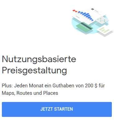 Google Maps nutzungsbasierte Abrechnung
